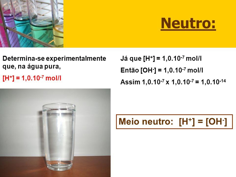 Neutro: Meio neutro: [H+] = [OH-]